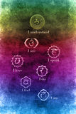 Chakras. Symbols and meaning of chakras over colorful grunge background Stock Illustration