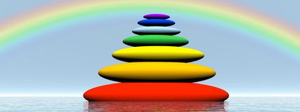 Chakras balanced stones - 3D render. Seven stones with chakra colors in balance upon the water under rainbow Stock Photography