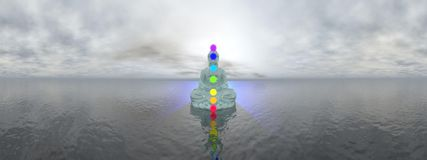 Chakras at blue sunset - 3D render Stock Image