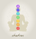 Chakras body. Meditation body with the seven Chakras Royalty Free Stock Photo