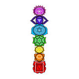 Chakras. Colorful chakras in a human body, spiritual life Royalty Free Illustration