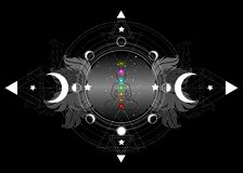 Free Chakras Concept. Inner Love, Light And Peace. Buddha Silhouette In Lotus Position Over Ornate Mandala Lotus Flower And Moon Phases Stock Images - 181681124