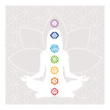 Chakras and energy body. Seven chakras, energy body and woman meditating in the lotus position vector illustration
