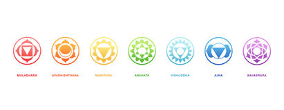 Chakras energy healing, sacred geometry vector Royalty Free Stock Image
