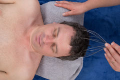 Chakras head massage shiatsu isolated. On white Royalty Free Stock Photo