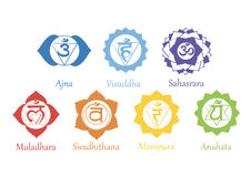 Chakras icons . The concept of chakras used in Hinduism, Buddhism and Ayurveda. For design, associated with yoga and India. Vector Vector Illustration