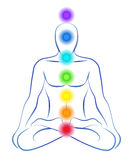 Chakras. Illustration of a meditating person in yoga position with the seven main chakras Vector Illustration