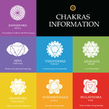Chakras information. Isolated minimalistic icons. High quality vector objects Stock Illustration