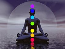 Chakras la nuit 3D rendent Photo stock