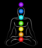 Chakras Man Black. Illustration of a meditating man in yoga position with the seven main chakras. Black background Stock Illustration