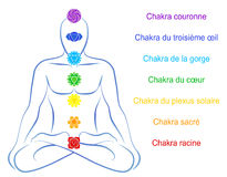 Chakras Man Description French Royalty Free Stock Photo
