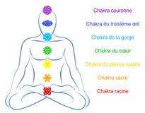 Chakras Man Description French. Seven main chakras beaded along the corresponding body regions of a meditating man. Vector illustration over white background Royalty Free Stock Photo