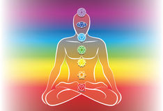 Chakras Man Rainbow Color Gradient. Chakras along a meditating mans body. Vector illustration over rainbow gradient background Royalty Free Stock Image