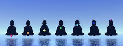 Chakras in meditation stock illustration