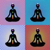 chakras mediterar seten Royaltyfri Foto