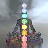 Chakras molnig meditation - 3D framför royaltyfri illustrationer