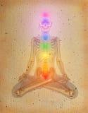 Chakras over een menselijk lichaam Stock Afbeelding