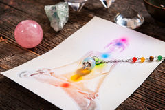 Chakras over a human body Stock Photography