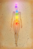Chakras over a human body