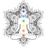 Chakras pojęcie Sylwetka w lotosowej pozyci nad dekoracyjnym ma ilustracji