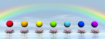 Chakras and rainbow - 3D render Royalty Free Stock Image