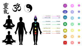 chakras reiki符号瑜伽 图库摄影