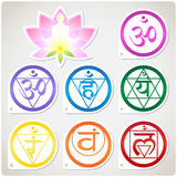 Chakras Set and Lotus Stock Image