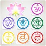 Chakras Set and Lotus Stock Image