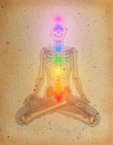 Chakras sopra un corpo umano Immagine Stock