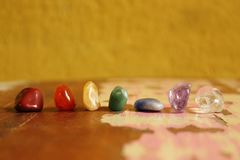 Chakras Stones to heal. Mind, soul. It energyzes us deeply Royalty Free Stock Photos