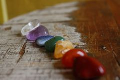Chakras Stones to heal, cure. Chakras Stones to heal mind, soul. It energyzes us deeply royalty free stock photography