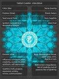 Chakras-Symbole mit den Bedeutungen infographic Stockfoto