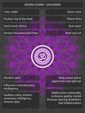 Chakras-Symbole mit den Bedeutungen infographic Stockfotografie