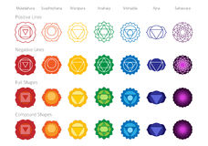 Chakras Symbols Color Vector Set. Simple Accurate Chakras Symbol Color Vector Shape Set Royalty Free Illustration