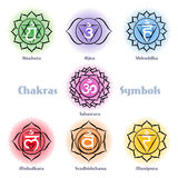 Chakras symbols vector set Royalty Free Stock Image