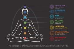 Chakras system ciało ludzkie - używać w hinduizmu, buddyzmu i Ayurveda, Obraz Stock