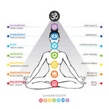 Chakras system of human body - used in Hinduism, Buddhism and Ayurveda. Royalty Free Stock Photos