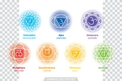 Chakras system of human body - used in Hinduism, Buddhism and Ayurveda. Man in padmasana - lotus asana. For design, associated wit royalty free illustration
