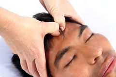 Chakras third eye massage ancient Maya therapy. Central America shiatsu royalty free stock photography