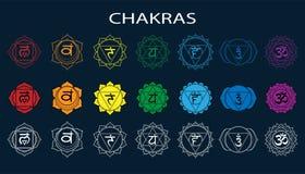 Chakras uppsättning: muladhara swadhisthana, manipura, anahata, vishuddha, ajna, sahasrara Vektorlinje symbol Om-tecken på en sva royaltyfri illustrationer