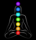 Chakras Woman Black. Illustration of a meditating woman in yoga position with the seven main chakras. Black background Royalty Free Stock Photography