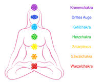 Chakras Woman Description German Stock Images