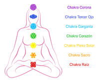 Chakras Woman Description Spanish Royalty Free Stock Photos