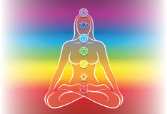 Chakras Woman Rainbow Background. Chakras of a meditating woman. Vector illustration over rainbow gradient background Stock Photo