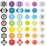 Chakraspictogrammen Concept chakras in Hindoeïsme, Boeddhisme en Ayurveda wordt gehanteerd die Voor ontwerp, verbonden aan yoga e Royalty-vrije Stock Foto's