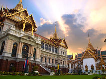 The Chakri Maha Prasat Throne Hall. The modern central court is dominated by the curious Chakri Maha Prasat hall. The hall was built by King Rama V and completed Stock Image