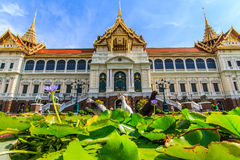 Chakri Throne Hall in the lower corner. Chakri Throne Hall in the Grand Palace, Wat Phra Kaew in Bangkok, Thailand . Thailand or destinations . Many travelers Stock Image