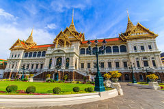 Chakri Throne Hall in the lower corner and straight . Chakri Throne Hall in the Grand Palace, Wat Phra Kaew in Bangkok, Thailand . Thailand or destinations Stock Image