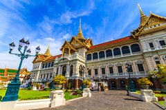 Chakri Throne Hall at an oblique angle . Chakri Throne Hall in the Grand Palace, Wat Phra Kaew in Bangkok, Thailand . Thailand or destinations . Many travelers Royalty Free Stock Photos