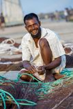 A happy fisherman on working. Chaktai Khal called grief of Chittagong City. It is a most important part of Chittagong sea port and Karnafuli River, Karnaphuli Royalty Free Stock Image